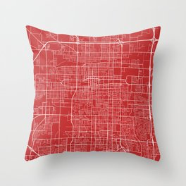 Springfield Map, USA - Red Throw Pillow