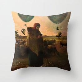 Distracted shepherdess Throw Pillow