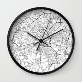 Lille Map White Wall Clock