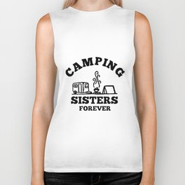 camping sisters forever dark soul clothing black fire happy funny camp Biker Tank