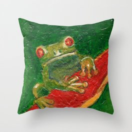 Red Eyed Frog Throw Pillow