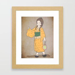 Japanese Prints Inspired Painting of a Woman - The Outfit Framed Art Print