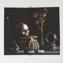 Vanitas, Memento Mori, Macabre Halloween Photo Throw Blanket