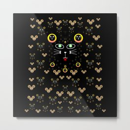 Merry black cat in the night and a mouse involved pop-art Metal Print