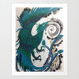 Blue Phoenix (water color) Art Print