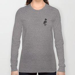Raven Skeleton (Black on Gray Long Sleeve T-shirt