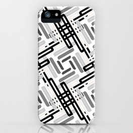 Seamless Geometric Black and White Abstract Pattern iPhone Case