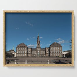 Christiansborg Palace under a blue sky on a sunny day Serving Tray