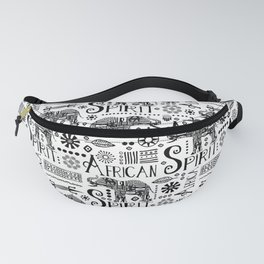 Africa Style Elephant Black And White Tribal Pattern Fanny Pack
