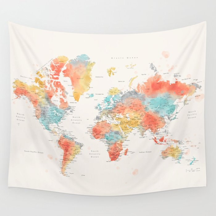 Colorful watercolor world map with cities Wandbehang