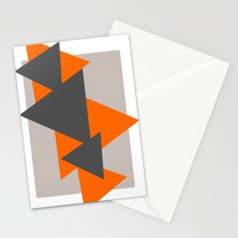 Orange and Grey Triangles Stationery Cards