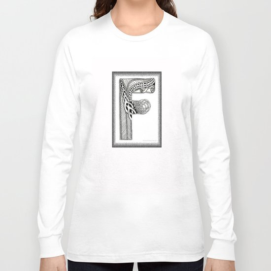 Zentangle F Monogram Alphabet Illustration Long Sleeve T-shirt