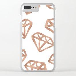 Rose gold diamond print Clear iPhone Case