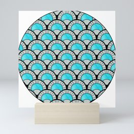 Aqua Art Deco Twenties Fan Pattern Mini Art Print