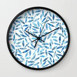 Indigo Summer Botanical Pattern Wall Clock