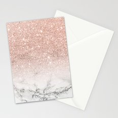 Modern faux rose pink glitter ombre white marble Stationery Cards
