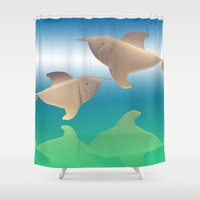 dolphins Shower Curtains featuring dolphins by Ruud van Koningsbrugge