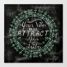 'Your Vibe Will Attract Your Tribe' Quote Mandala Marble Black Canvas Print
