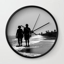 Elderly Couple On The Beach Wall Clock
