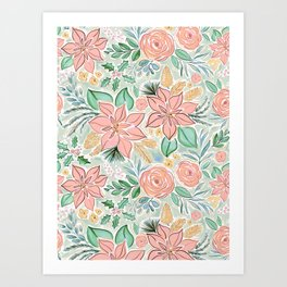 Lively Christmas Pastel Watercolor Floral Art Print