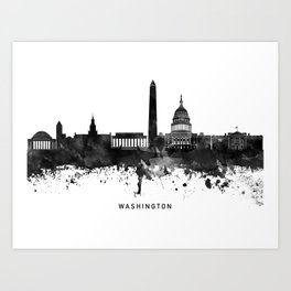 Washington Black White Named Skyline Art Print