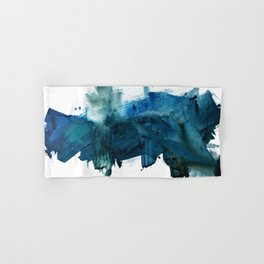 Change: A minimal abstract acrylic painting in blue and green by Alyssa Hamilton Art Hand & Bath Towel