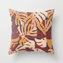 Color Block Monstera Leaves in Maroon Throw Pillow