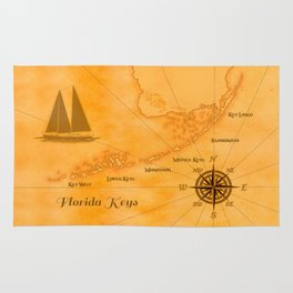 Vintage Nautical Florida Keys Map Rug