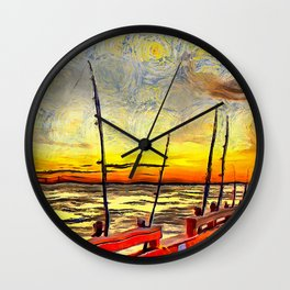 Fishing Rods at Sunset Painterly Style Wall Clock