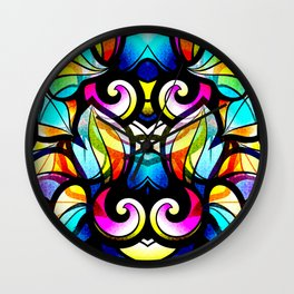 Colorful Abstract Stained Glass Design Wall Clock