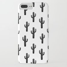 Cactus linocut pattern black and white minimal desert southwest socal joshua tree Slim Case iPhone 7 Plus