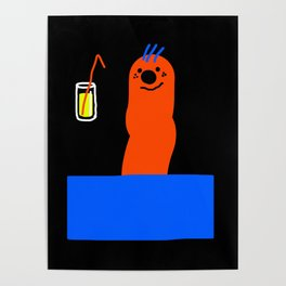 WORM WITH FANCY DRINK Poster