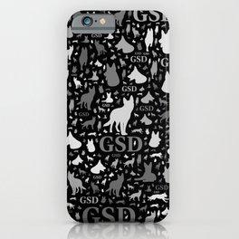 German Shepherd Dog Silhouettes -Grayscale iPhone Case