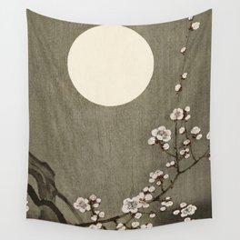 Blossoming plum tree at full moon  - Vintage Japanese Woodblock Print Art Wall Tapestry