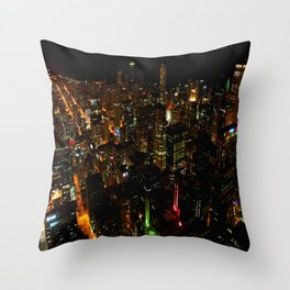Night Skyline from Skydeck #1 (Chicago Architecture Collection) Throw Pillow