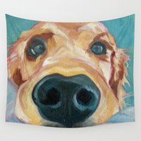 puppy Wall Tapestries featuring Puppy Nose by Barking Dog Creations Studio