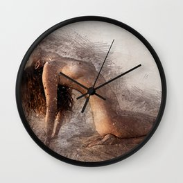 Naked Yoga on the Beach Wall Clock