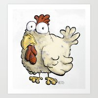 chicken Art Prints featuring Chicken by Ky Betts