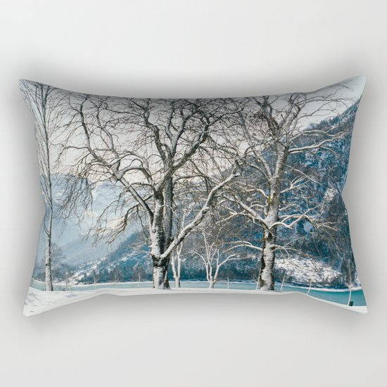 Trees By A Winter Lake Rectangular Pillow