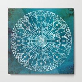 Rosette Window - Teal Metal Print
