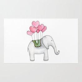Watercolor elephant Love illustration Valentines gift Cartoon animal print Kids Rug