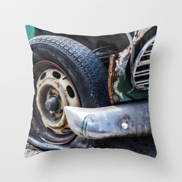 Flat tire on smashed vintage car Throw Pillow
