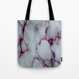 White with Maroon Marbling Tote Bag