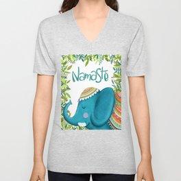 Namastey - Cute Elephant Illustration Unisex V-Neck