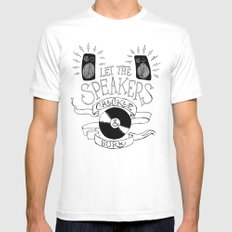 Let the Speakers... Mens Fitted Tee White MEDIUM