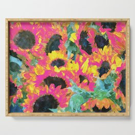 Pink Sunflowers, Pop of Color Bold Floral Nature, Botanical Summer Painting, Plants Eclectic Garden Serving Tray