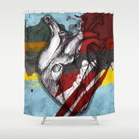 baloon Shower Curtains featuring Colorful Heart by kartalpaf
