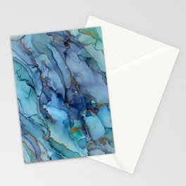 Mermaid Party Blue Marble Abstract Ink Stationery Cards