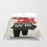 daryl dixon Duvet Covers featuring Daryl Dixon - Red and Black by Duke Dastardly
