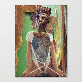 Maya Kaiju Goddess - Vintage Collage Canvas Print